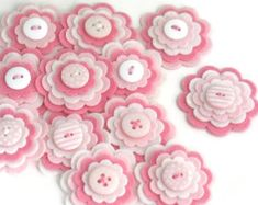 BABY GIRL Felt Flower Appliques, Felt Flower Embellishments in Pink and White, Layered Felt Blooms Set of 3