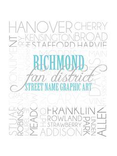 """Richmond """"Fan District"""" Street Name Graphic Art"""