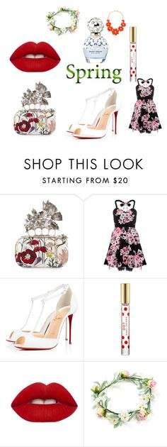 """""""the flowers of spring"""" by niiskuneitonen ❤ liked on Polyvore featuring beauty, Marc Jacobs, Alexander McQueen, Dorothy Perkins, Christian Louboutin, Lime Crime and topic"""