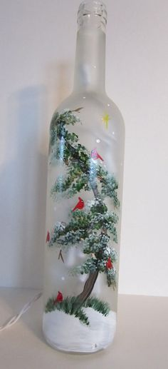 Cardinals Sitting on a Evergreen Tree Frosted by EverythingPainted