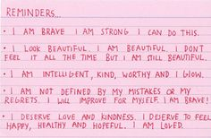 Self-affirmations index card. The Words, Cool Words, Quotes To Live By, Me Quotes, Motivational Quotes, Inspirational Quotes, Pretty Words, Beautiful Words, Note To Self