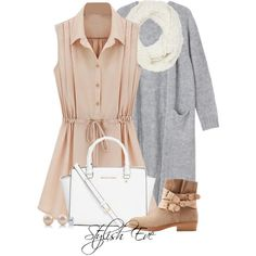 #daydress #outfit #outfits #boot #bag #bags #mk #mickelkors #cardigan #cute #set #sets #awesome #love #awesome #earring #earrings #scarf #grey #winter