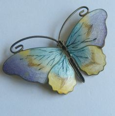 Large Norway  Guilloche Enamel Sterling Butterfly Brooch
