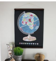 Paint by Numbers Chalkboard Globe by Dirtsa Studio