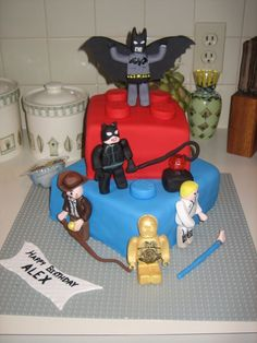 LEGO Birthday - for Harry's 5th birthday cake. Thought I could use Lego Star Wars characters on the Lego blocks.