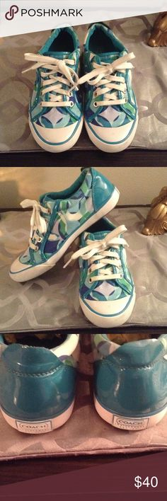 Coach Barret Kaleidoscope sneakers tennis shoes Gently used shoes from Coach. The colors are teal, navy, green, and Aqua. These are for everyday wear when you want to feel pulled together. The shoes are in awesome shape. Hope someone wants them for spring Coach Shoes Sneakers