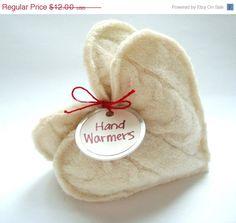 CIJ SALE Pocket Hand Warmers VANILLA Cream Hearts by WormeWoole, $10.20