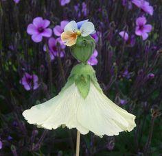 Thyme In A Bottle: Hollyhock Dolls, Abutilon Dolls, Flower Dolls Garden Bulbs, Garden Pots, Garden Ideas, Garden Cottage, Daisy Crown, Rose Of Sharon, Woodland Fairy, Flower Crafts, Leaf Crafts
