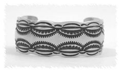 Stamped Sterling Silver Cuff Bracelet by Navajo Silversmith Mary Bill