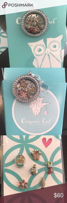 """Origami Owl Christmas Complete Locket Complete origami Owl Locket set Christmas themed. Comes with with a clear colored Swarovski crystal face, silver colored base, silver colored ball station chain that is 28-30"""", six charms (the last picture is a close up of the charms in the Locket), and it comes with a silver colored plate that says let it snow. The six charms cover it up, but you can flip it around so it is facing backwards (pictured in last picture).It also comes with a clear colored…"""