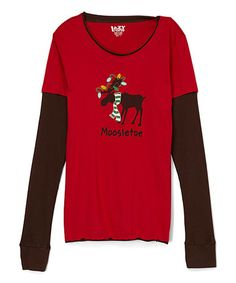 Another great find on #zulily! Red 'Moosletoe' Lounge Pajama Top - Women #zulilyfinds