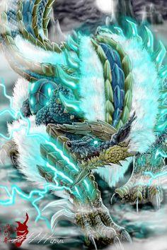 Jinouga or Zinogre from monster hunter and Monster Hunter 3 Ultimate. Monster Hunter Memes, Monster Hunter 3rd, Fantasy Dragon, Dragon Art, Fantasy Art, Fantasy Creatures, Mythical Creatures, Monster Hunter 3 Ultimate, Arte Cyberpunk