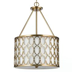 Brass and Silver Ring Drum Chandelier