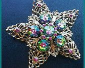 "Vintage Brooch Pin Rivoli Watermelon Rhinestones Gold Metal Star Design HUGE 3"" EX"