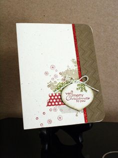 Love this Christmas card in neutrals with a little pop of red!