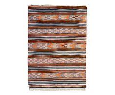 "Vintage Anatolian Kilim with Blue Stripes 5'3"" x 7'7"" – HW | M | Floorplan Rugs"