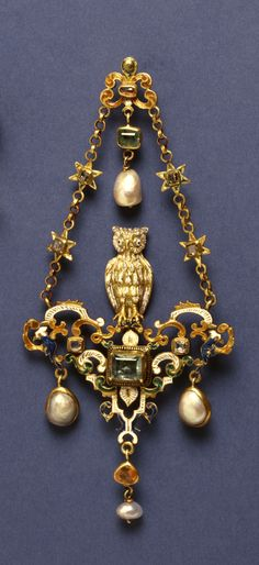 Owl pendant, made in Europe in the 16th century (source).