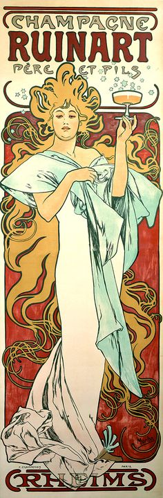 Ruinart Champagne poster by Alphonse Mucha, Art Nouveau poster Vintage French Posters, Poster Vintage, French Vintage, Mucha Art Nouveau, Alphonse Mucha Art, Art Nouveau Poster, Vintage Advertisements, Vintage Ads, Illustrator