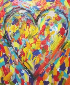 Art Projects for Kids: Jim Dine Style Hearts. Great for warm/cool ...