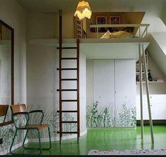 A cute retro loftbed bedroom idea. I hope you guys pin it. :-)