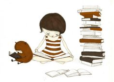 The reader - Little girl reading books with her furry orange friend - Illustration print by majalin Books And Tea, I Love Books, Books To Read, My Books, Girl Reading Book, I Love Reading, Reading Books, Reading Buddies, Reading Art