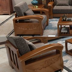 Latest Wooden Bed Designs, Wooden Sofa Set Designs, Wood Bed Design, Living Room Sofa Design, Bedroom Closet Design, Bedroom Furniture Design, Wood Sofa, Luxury Sofa, Grey Office