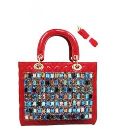 Multi Color Stones Fashion Satchel Red  Multi Color Stones Fashion Satchel Red Leather-Vinyl Feel Material 7'  in Drop Length Dual Carry Handles Adjustable Shoulder Strap Closing Zipper Interior Fabric Material Interior Zipper Pocket Gold Toned Hardware Color:  Red Approximate Size: 11L x 8H x 3W Model:    1406007