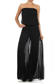 a6f5caf99dfa Black Solid Strapless Full Length Jumpsuit With Lace Trim On Waist (FREE  SHIPPING) Jumpsuit