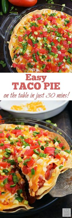 Taco Pie | by Life Tastes Good is an easy and economical recipe perfect for even the busiest nights of the week! Refried beans and seasoned ground beef sandwiched between 2 large flour tortillas is topped with shredded cheese and fresh vegetables to create a Mexican inspired dish the whole family will love!