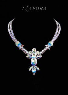 """One Note Samba"" - - Swarovski ballroom necklace. Ballroom dance jewelry, ballroom dance dancesport accessories. www.tzafora.com Copyright © 2017 Tzafora."