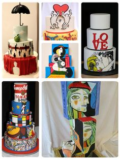 Cakes inspired by art modern art of picasso pop art and keith haring