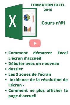 Nous découvrons sur cette vidéo #1 : - Comment démarrer Excel - L'écran d'accueil - Débuter avec un nouveau dossier - Les 3 zones de l'écran - Incidence de la résolution de l'écran - Comment ne plus afficher la page d'accueil Lien Internet, Microsoft Excel, Success, Marketing, Education, Geeks, Words, Business, Tips