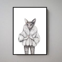 Little Miss Purr-fect  Hand drawn illustration made by Sanna Wieslander.  Available as signed art prints and posters in several different sizes at www.sannawieslander.com