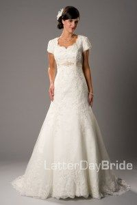 One of our favorite lace gowns!  Give it a repin.  Available at www.latterdaybride.com
