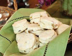 Golden Raisin Scones:  Scones dotted with golden raisins are a sweet start to afternoon tea.
