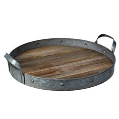 Round Galvanized Metal and Wood Tray