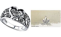 Unwritten Heart and Vine Openwork Ring in Sterling Silver