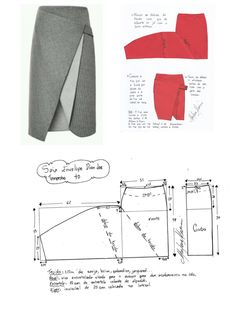 DIY – Molde, Corte e Costura – Schnittmuster Skirt Patterns Sewing, Clothing Patterns, Diy Clothing, Sewing Clothes, Fashion Sewing, Diy Fashion, Costura Fashion, Diy Kleidung, Couture Sewing