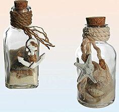 Deko Glasflaschen Set mit Sand und Muscheln für maritime Deko