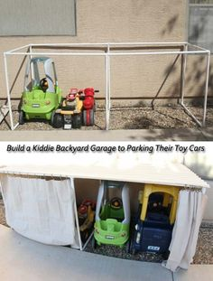 Build a kiddie backyard garage to parking their toys & cars.