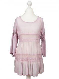 Damen Tunika mit Seide, rosa von www.meinkleidchen.de