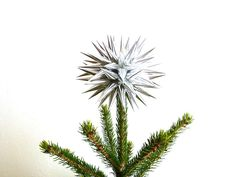 Star Urchin Tree Topper Silver Paper Christmas Decoration Modern Folk Art Holiday Home Decor - Size Small (6-inch) - Sterling Silver. $40.00, via Etsy.