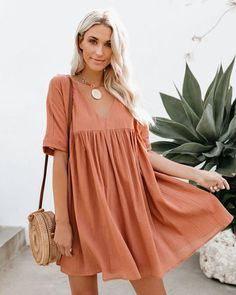 Short Sleeves V-neck Loose Mini Dress XL / Apricot Dress Outfits, Cute Outfits, Fashion Outfits, Cute Dresses, Casual Dresses, Prom Dresses, Look Boho, Babydoll Dress, Mode Style
