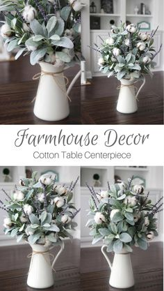 Farmhouse Decor~Cotton Arrangement~Table Centerpiece~Lamb's Ear~Lavender and Cotton in a White Pitcher #affiliate #farmhousedecor #homedecorideas