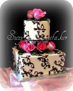 black and white cake possible sweet 16 cake but add blue accents