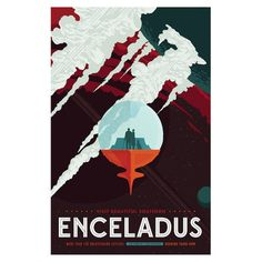 "Latitude Run Visions of the Future Series: Enceladus by NASA Graphic Art on Wrapped Canvas Size: 26"" H x 18"" W x 1.5"" D"