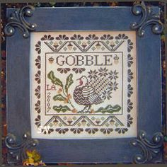 """""""Gobble"""" - Plum Street Samplers.  This was very easy and quick to stitch."""