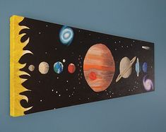 Items similar to Solar System Art Space Painting Kids Art Outer Space Art Planet Painting Boys Room Art - Original Canvas Painting on Etsy Space Painting, Easy Canvas Painting, Painting For Kids, Diy Painting, Art For Kids, Acrylic Canvas, Solar System Painting, Solar System Art, Planet Painting