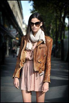 peach dress + cognac leather jacket + white scarf