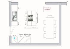 Plan d'architecte pour une cuisine // http://www.deco.fr/bricolage-travaux/amenagement-cuisine/actualite-612742-plan-cuisines-ilot-conseil-architecte.html